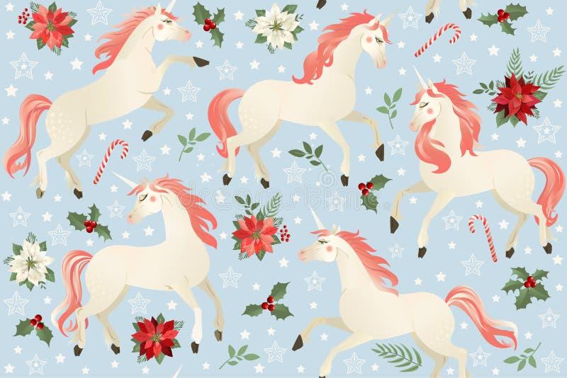 Einhörner auf einem Weihnachtsblumenhintergrund Nahtloses Muster stock abbildung