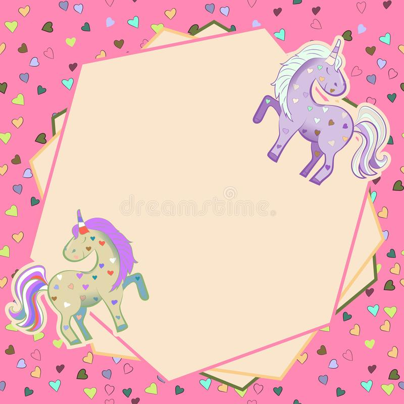 Einh?rner in den Pastellfarben auf dem Hintergrund von Herzen graphiken Feld Illustration f?r Tag des Valentinsgru?-s vektor abbildung