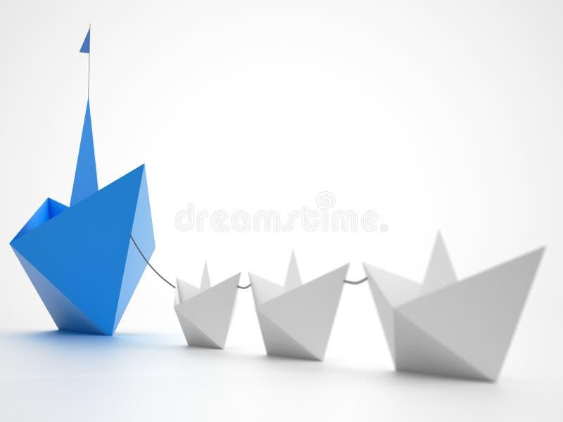 Einheit ist Stärke Kleine Papierboote, die ein größeres Schiff schleppen Konzept der Teamwork und des Bündnisses Wiedergabe 3d lizenzfreie stockfotos