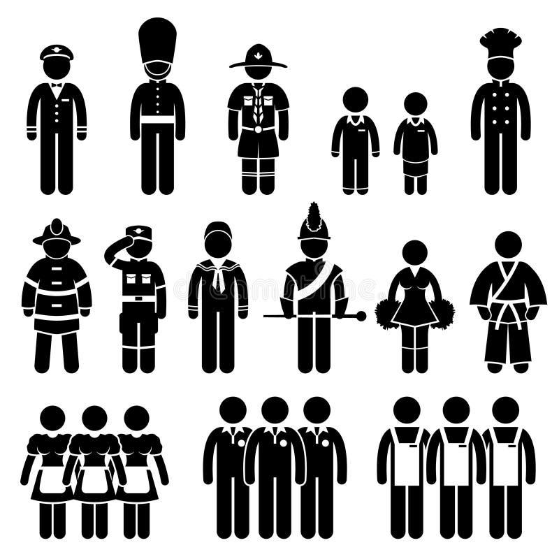 Einheitliche Ausstattungs-Kleidungs-Abnutzung Job Pictogram lizenzfreie abbildung