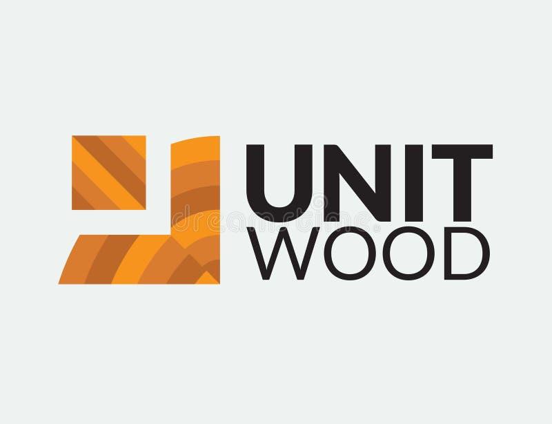 Einheits-Holz Logo Design stockbild