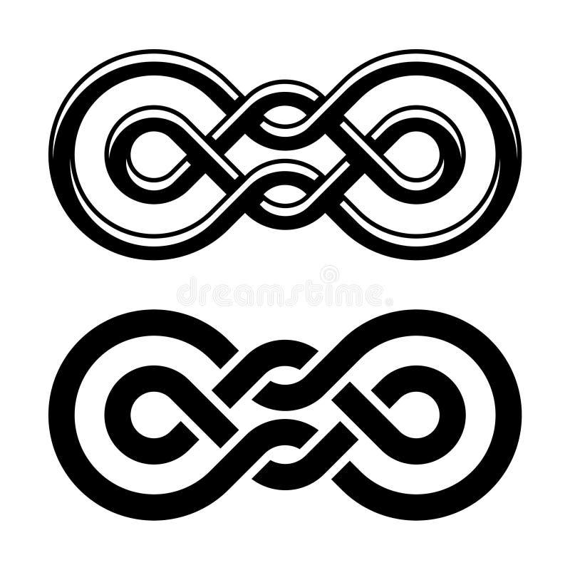 Einheitsknotenschwarz-Weißsymbol stock abbildung