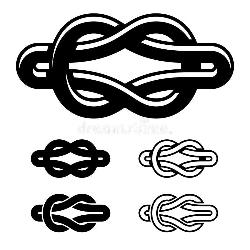 Einheitsknotenschwarz-Weißsymbole vektor abbildung