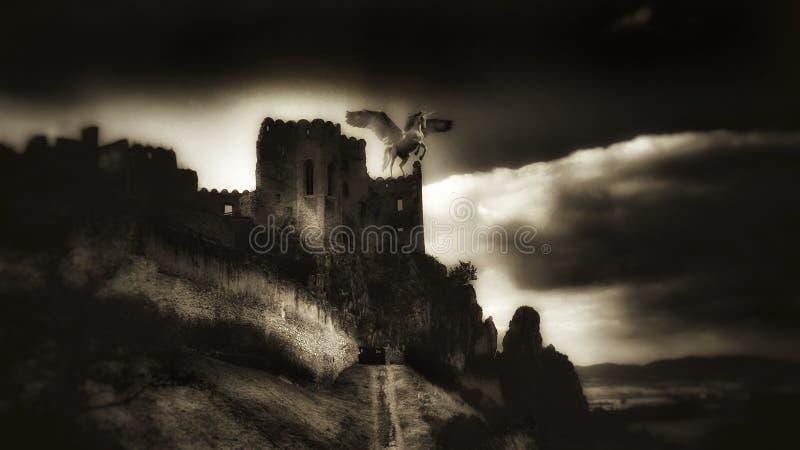 Einhorn auf Schloss stockbilder