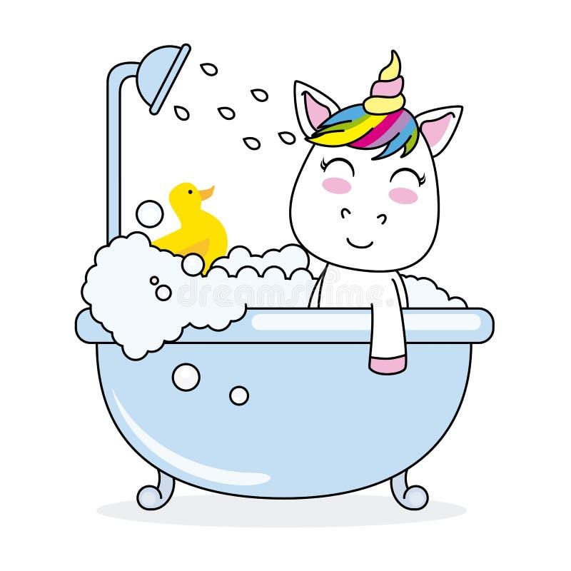 Einhorn, das in einer Badewanne badet lizenzfreie abbildung