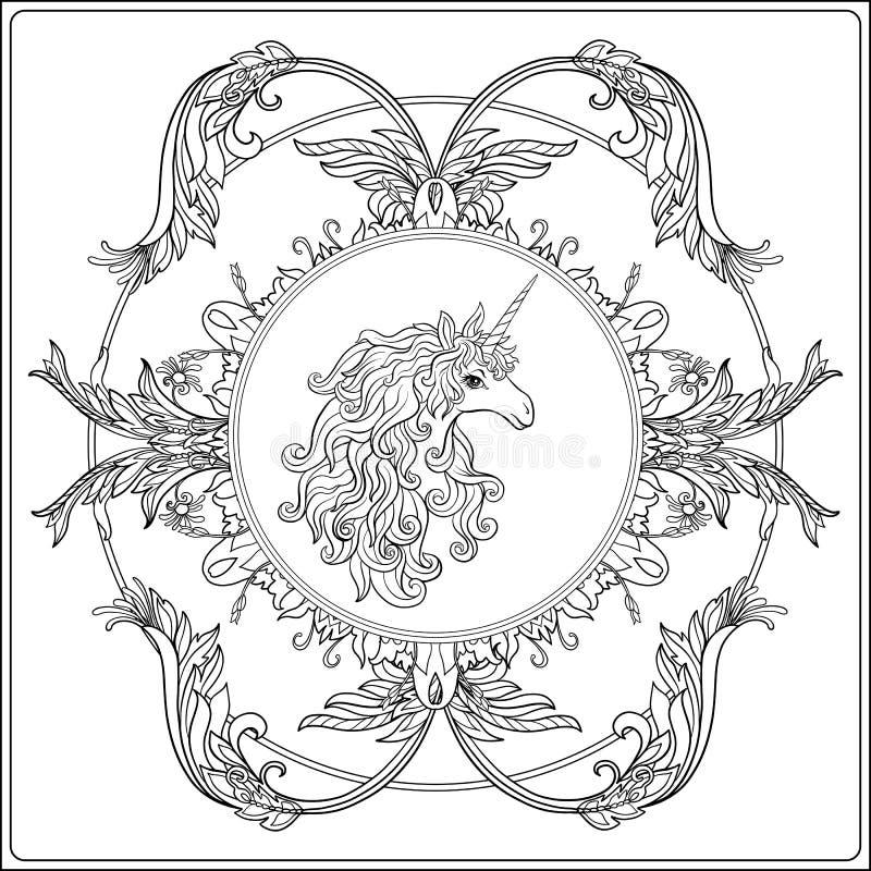 Einhorn im Rahmen, Arabeske in der königlichen, mittelalterlichen Art Ou lizenzfreie abbildung