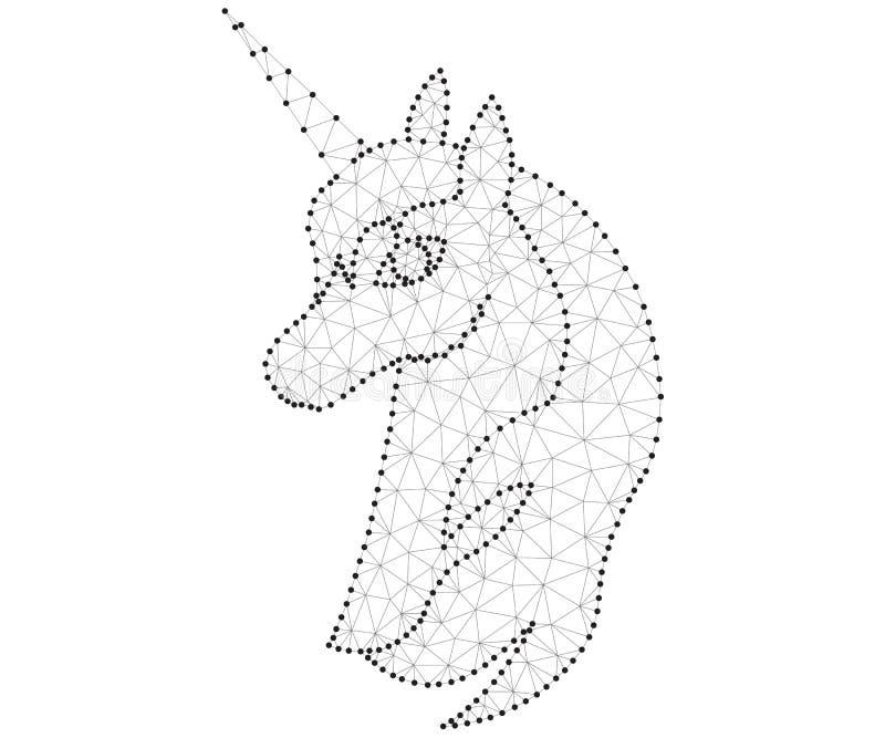 Einhornhauptpolygon schwarz-weiß lizenzfreie abbildung