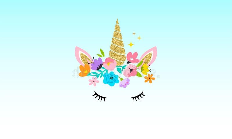 Einhornkopf mit Blumen - Karte und Hemd entwerfen stock abbildung
