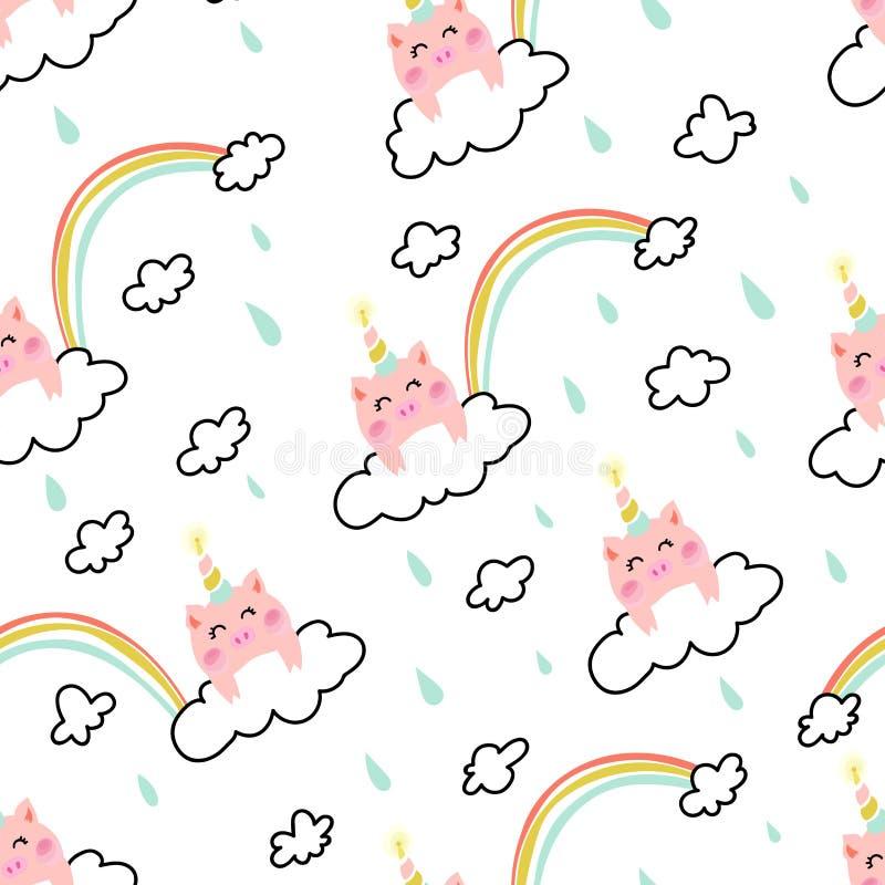 Einhornschwein auf dem nahtlosen Muster der Wolke lizenzfreie abbildung