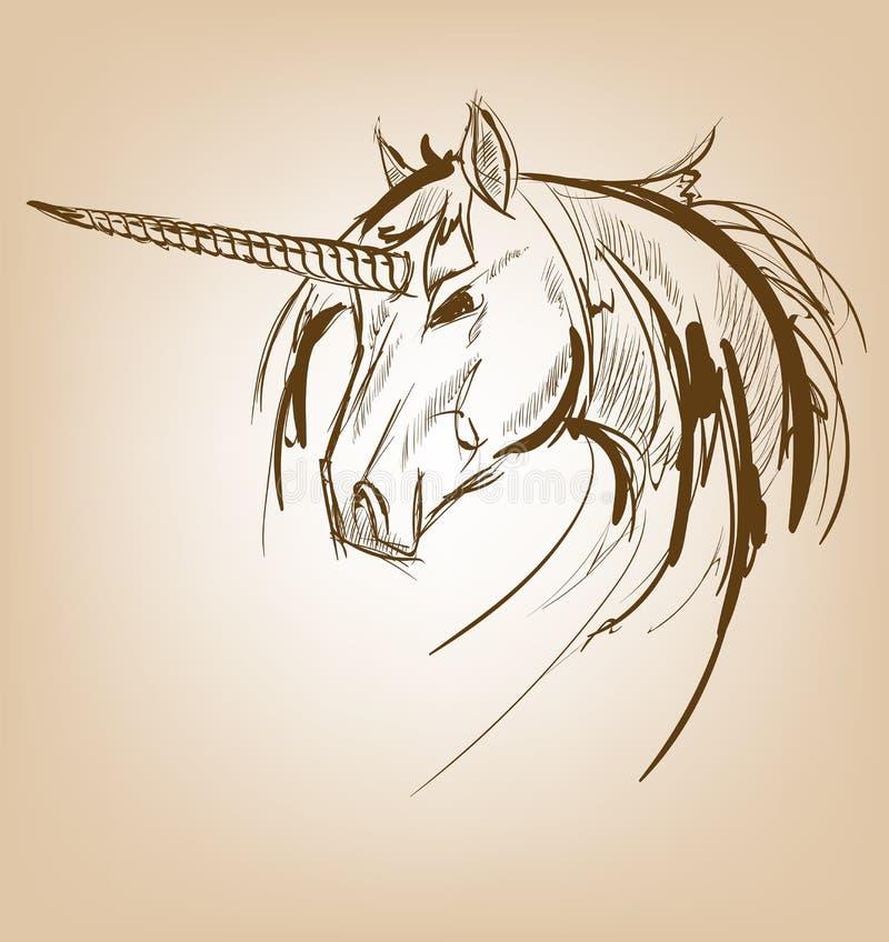 Einhornskizzenikone Vektormagie oder mystisches feenhaftes Pferd stock abbildung