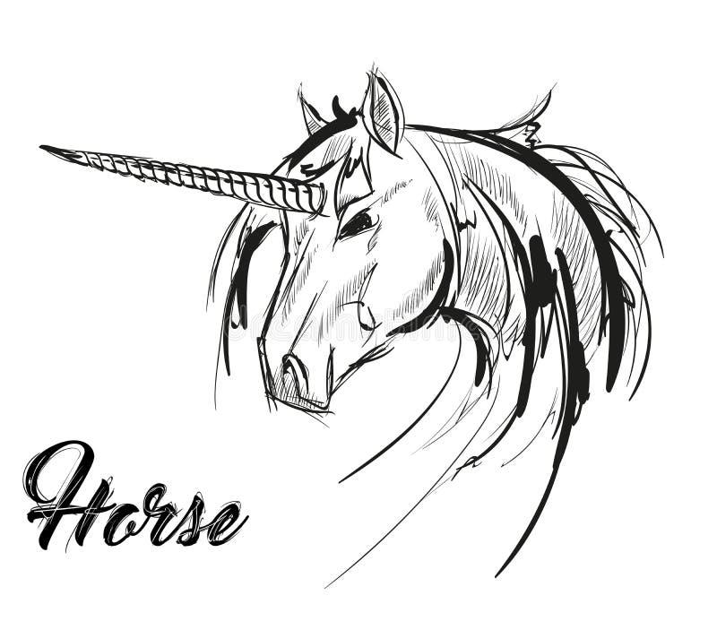 Einhornskizzenikone Vektormagie oder mystisches feenhaftes Pferd vektor abbildung