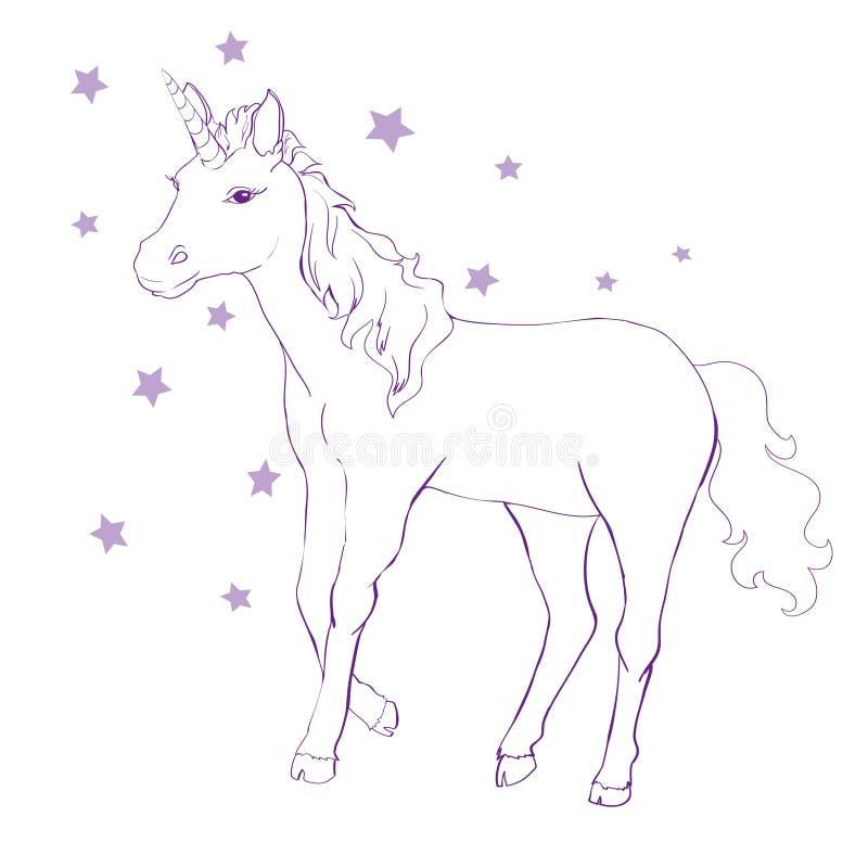 Einhornvektorikone lokalisiert auf Weiß Hauptporträtpferdeaufkleber, Fleckenausweis Nettes Tier der netten magischen Karikaturpha lizenzfreie abbildung