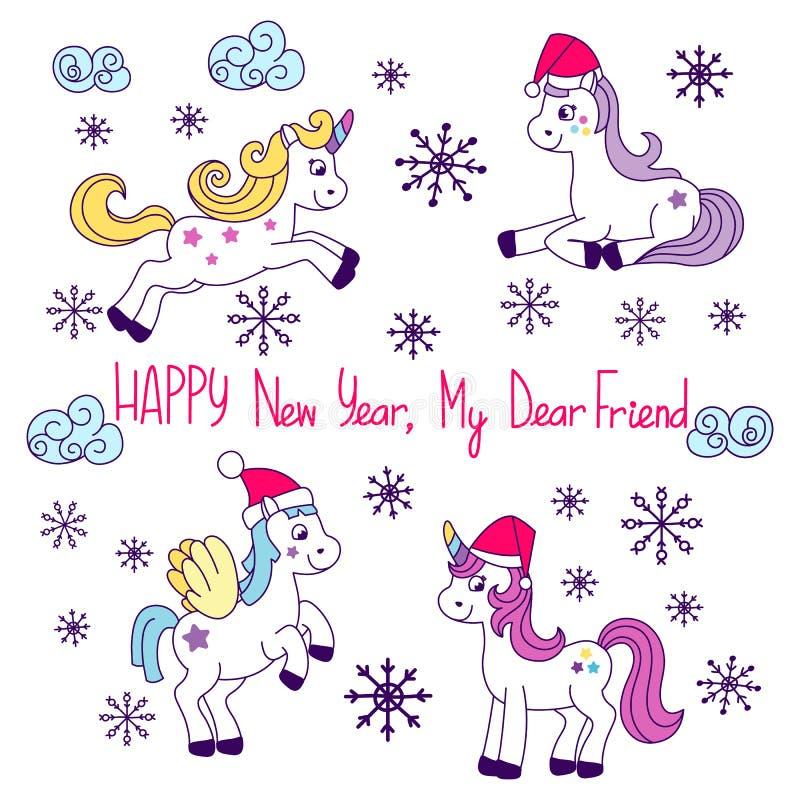 Einhornvektorsammlung Hübsches Pony für kleine Mädchen mit verschiedenen Elementen der Märchen s nett stock abbildung