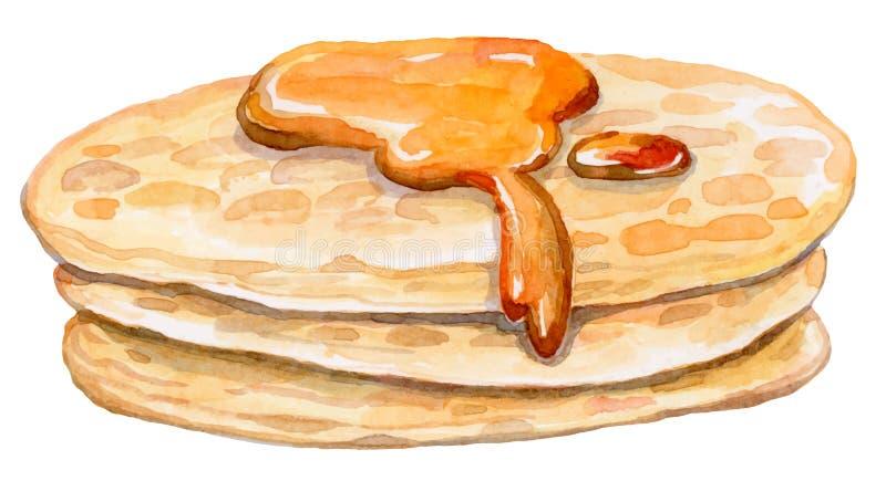 Einige appetitanregende Pfannkuchen mit süßem Ahornsirup vektor abbildung