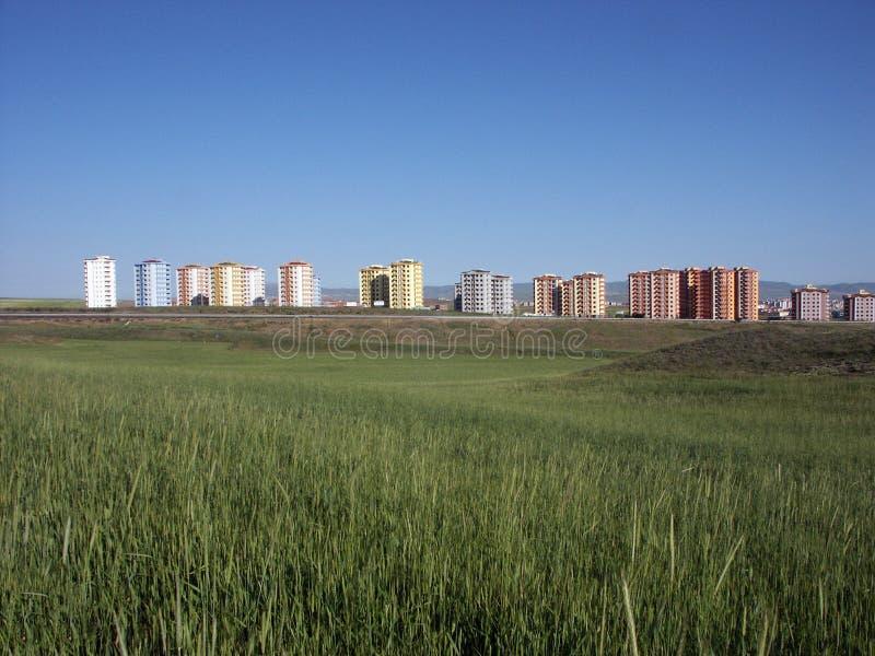 Einige Gebäude von den verschiedenen Regionen von Türkei-, Sozialwohnungs- und Industriebautenproben stockbild