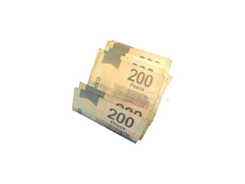 Einige Papierrechnungen des mexikanischen Pesos 200 gruppiert und auf weißem Hintergrund lokalisiert lizenzfreie stockbilder