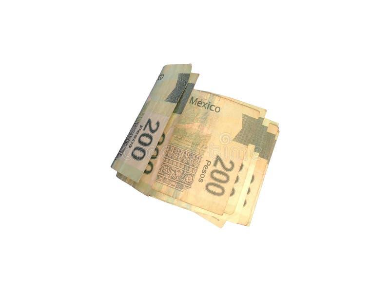 Einige Papierrechnungen des mexikanischen Pesos 200 gruppiert und auf weißem Hintergrund lokalisiert lizenzfreie stockfotografie