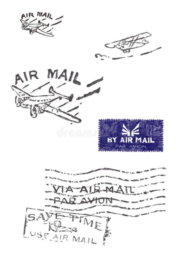 Einige Stempel der alten Luftpost (Vorlage - keine Scans stock abbildung