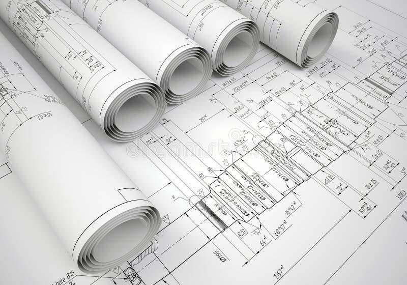 Einige technische Konstruktionszeichnungen der Rollen stockfotos
