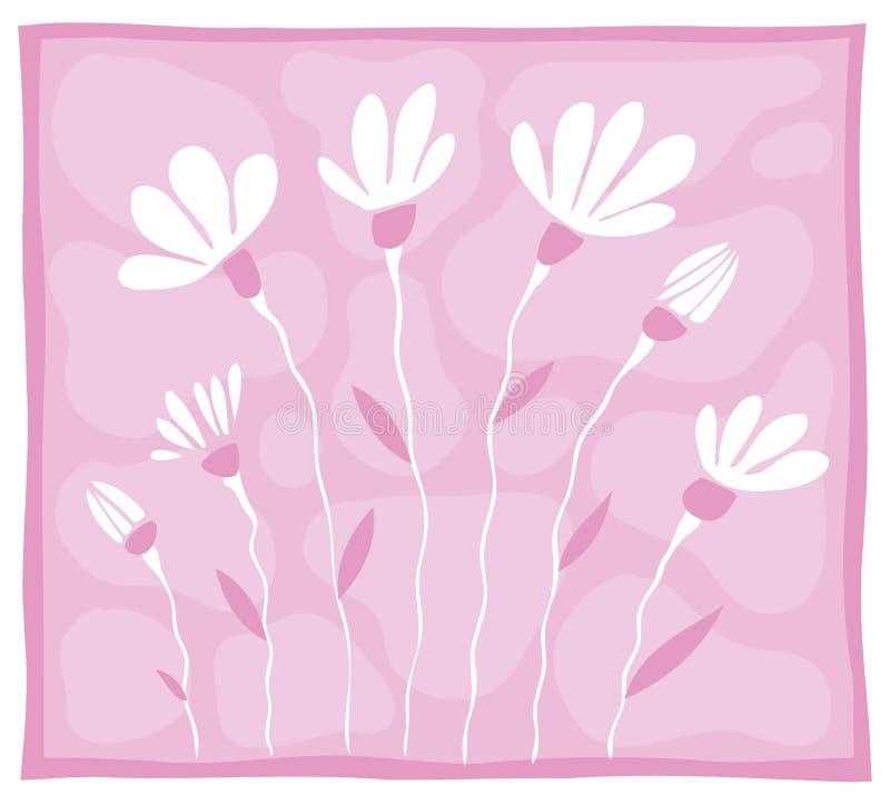 Einige weiße Blumen auf einem rosafarbenen Hintergrund vektor abbildung
