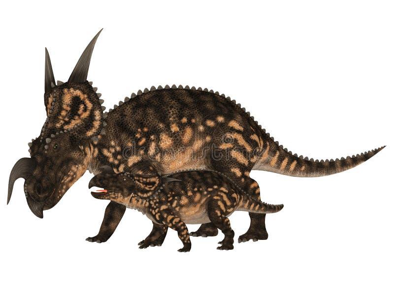 Einiosaurus adulto y joven stock de ilustración
