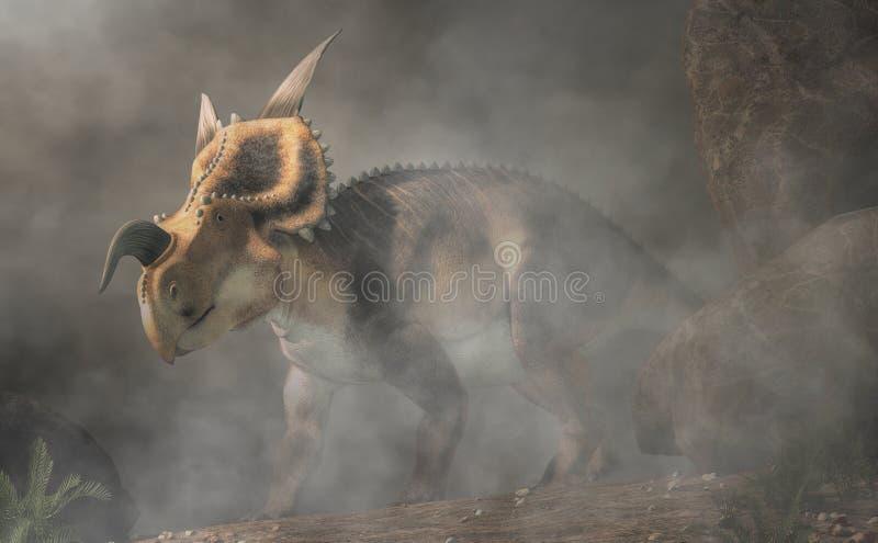 Einiosaurus en brouillard illustration stock