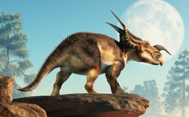 Einiosaurus i księżyc royalty ilustracja