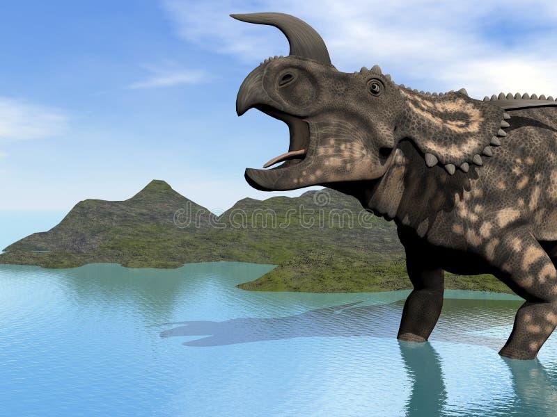 Einiosaurus in lago illustrazione vettoriale