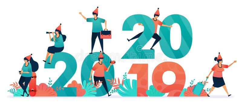 Einjähriges Fest und Weihnachten für Christen und Katholiken Start des Countdown am Vorabend des neuen Jahres 2019 bis 2020 stock abbildung