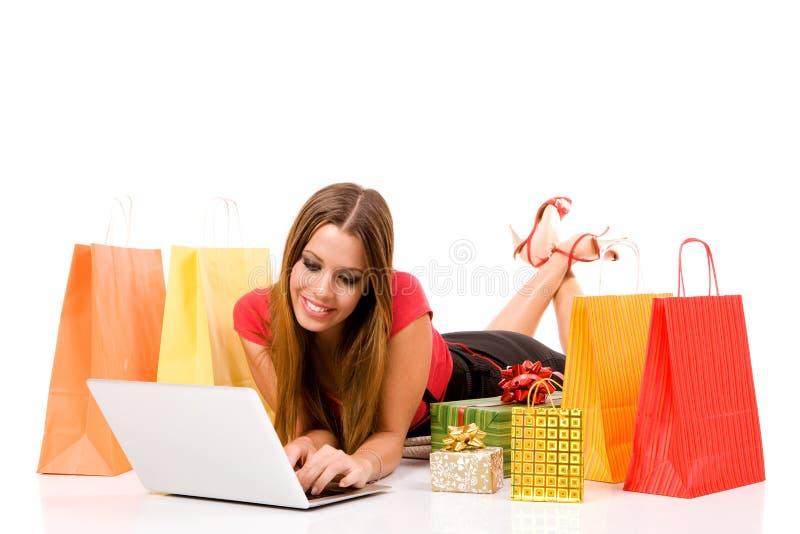 Einkauf über Internet stockfotografie