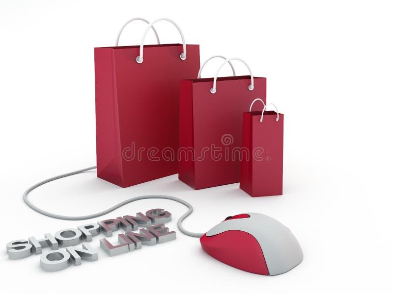 Einkauf auf Zeile lizenzfreie abbildung