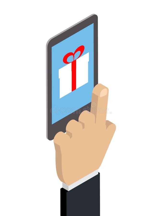 Einkauf durch Telefoninternet-Marketing-Geschenkbox Hand-Ð ¡ auc stock abbildung