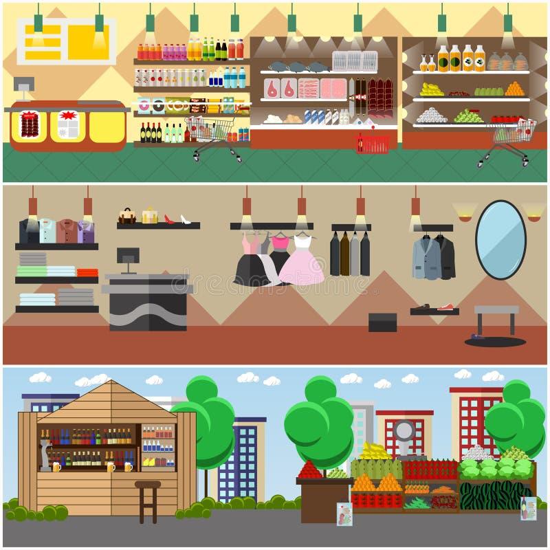 Einkauf in einem Speicher und lokalen in Marktkonzeptvektorfahnen Lebensmittelgeschäft, Modeboutique, Straßenbasarinnenraum stock abbildung