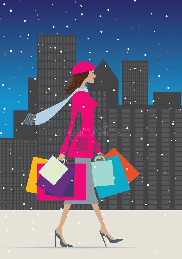 Einkauf im Winter lizenzfreie abbildung