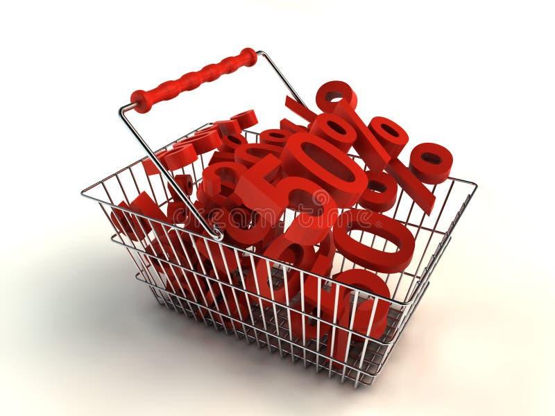 Einkauf mit Rabatt lizenzfreie abbildung