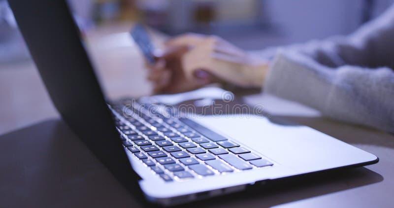 einkauf online auf laptop computer zu hause am abend payin stockbild bild von person b ro. Black Bedroom Furniture Sets. Home Design Ideas