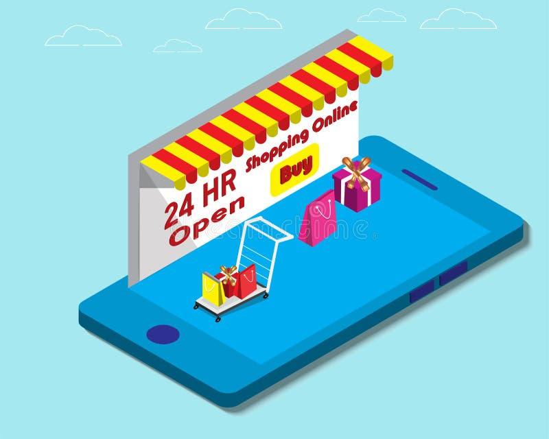 Einkauf online in der Schablone des modernen Entwurfs des Speichers mit intelligentem Telefon lizenzfreie stockfotografie