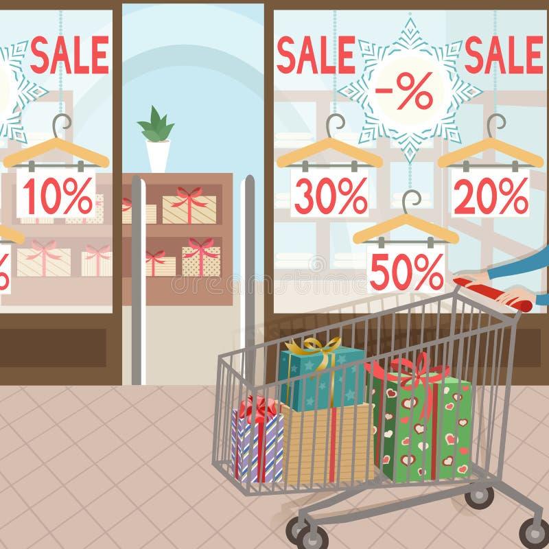 Einkauf und Geschenke green-Aufkleber verziert mit weißen Gänseblümchen auf weißem Hintergrund lizenzfreie abbildung