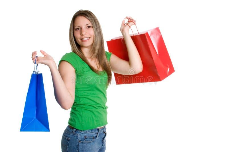 Einkaufen-Beutel-Frau stockfoto