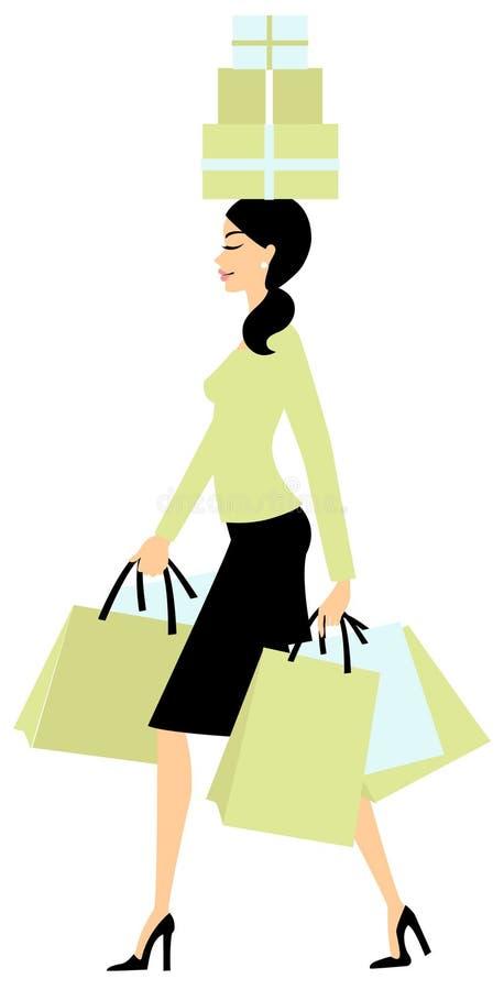 Einkaufen der jungen Frau stock abbildung