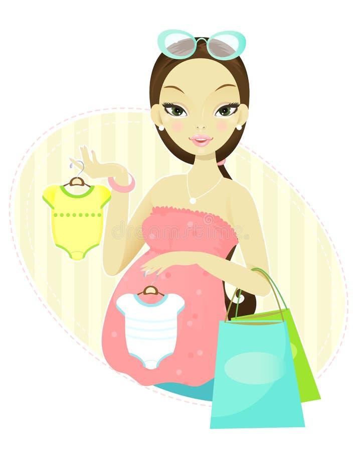 Einkaufen der schwangeren Frau lizenzfreie abbildung