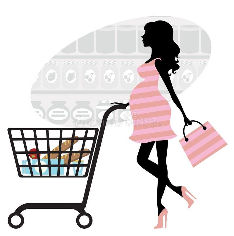 Einkaufen der schwangeren Frau im Supermarkt vektor abbildung