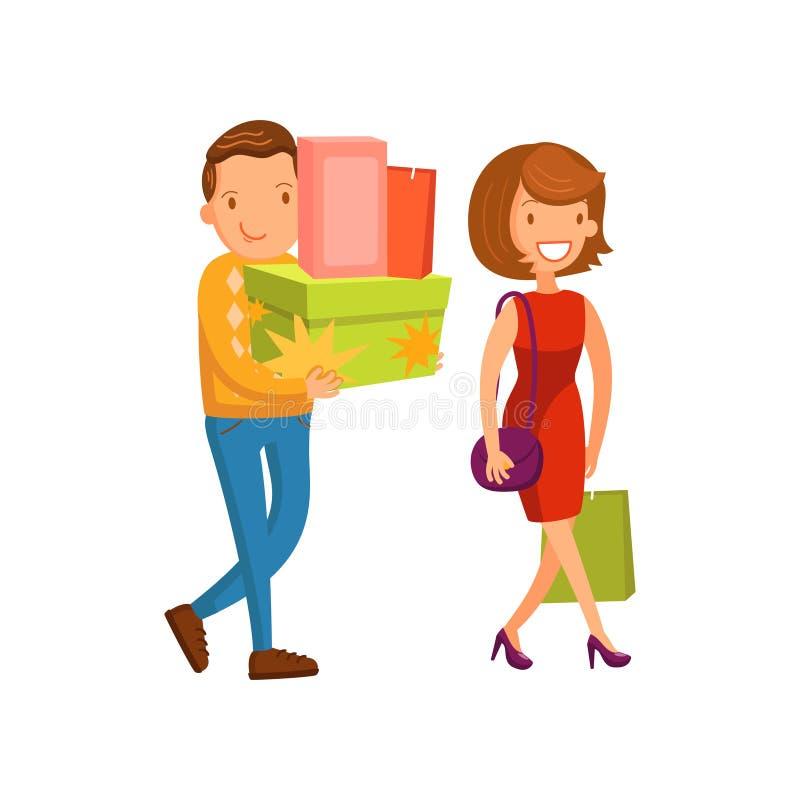 Einkaufen des glücklichen Paars, Familieneinkaufen in einer Mallkarikatur-Vektor Illustration lizenzfreie abbildung