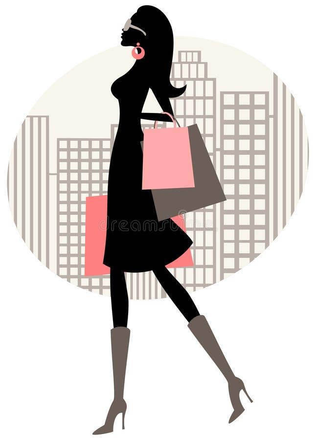 Einkaufen-Frau lizenzfreie abbildung