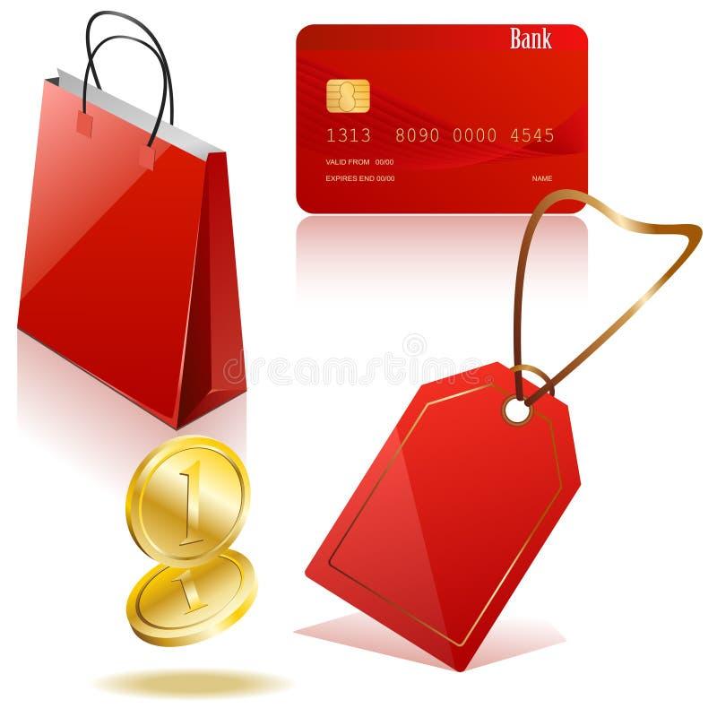 Einkaufen-Ikonen lizenzfreie abbildung