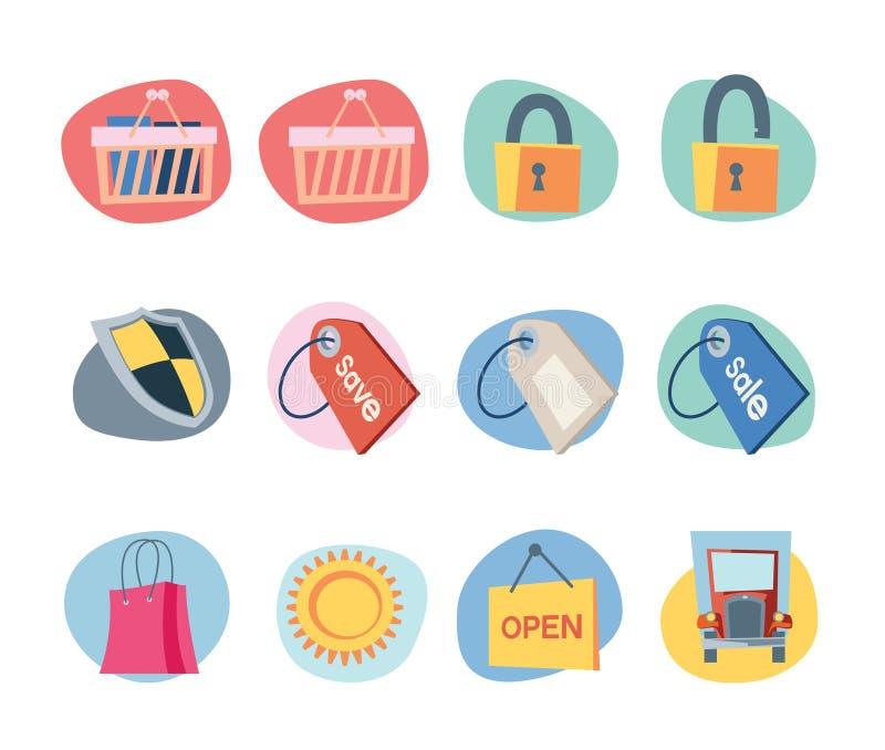 Einkaufen-Ikonen-Retro- Wiederbelebung-Ansammlung - Set 9 stock abbildung