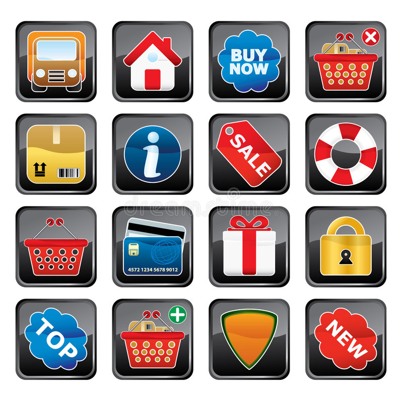 Einkaufen-Ikonen-Set stock abbildung