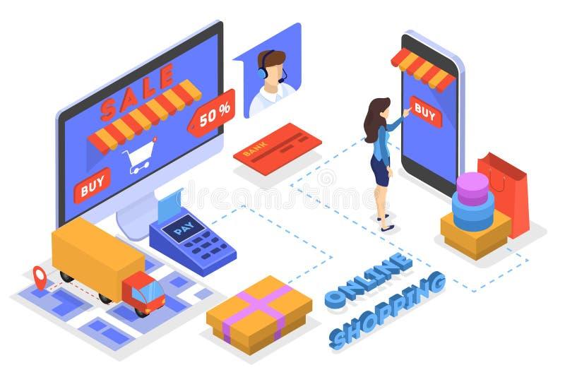 Einkaufen im Internet und digitale Geldzahlung leisten vektor abbildung