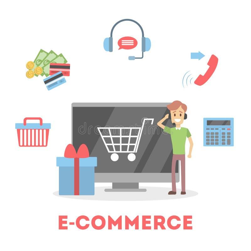 Einkaufen im Internet und digitale Geldzahlung leisten stock abbildung