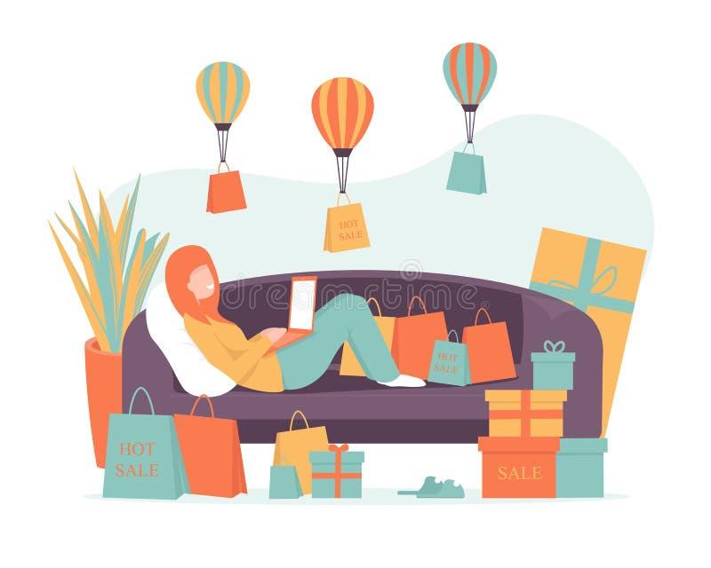 Einkaufen, Lieferung on-line, zu Hause mit Notizbuch stock abbildung